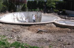 Pool surface work in progress